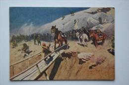 "HORSE IN ART  - Old Art  Postcard  - ""DEVIL BRIDGE"" By Grekov 1954 - Civil War In Russia - Chevaux"