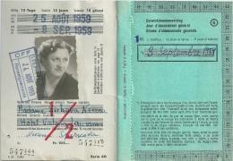 Suisse Abonnement Général De Vacances 1959 - Europe