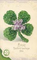 Bonne Et Heureuse Fête - Anne - Trèfle à 4 Feuilles En Fleurs - Edition K.F. - Carte Gaufrée - Autres