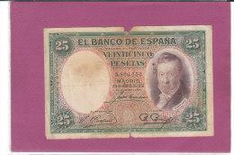 25 VEINTICINCO PESETAS  EL BANCO DE ESPANA - [ 1] …-1931 : First Banknotes (Banco De España)