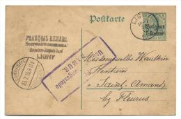 Entier Occupation 14/18 - Ligny 20.VII.15 Vers Sombreffe 23.7.15 + Censure Namur - WW I