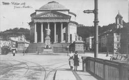 """04479 """"TORINO  - CHIESA DELLA GRAN MADRE - TRAMWAY  VILLA DELLA REGINA"""" ANIMATA. CART. POST. ILL. ORIG. SPEDITA 1912. - Churches"""