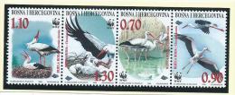 Bosnia & Herzegovina 1998 WWF Bird Stork Strip Set Of 4 MNH - Bosnia And Herzegovina
