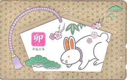 Télécarte DOREE Japon - ZODIAQUE - Animal -  LAPIN - RABBIT Horoscope ZODIAC Japan GOLD Phonecard - 788 - Zodiac