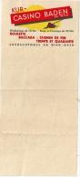 Ticket Publicitaire Baden Casino Avant 1940 - Austria