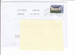 2015 09 14 Oblitération La Poste 37580A Sur Chateau D'ancy Le Franc - France