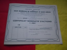 EAUX MINERALES DE CLEMENSAT ET SAINT GERON (certificat) Bournoncle Saint Pierre,haute Loire - Actions & Titres