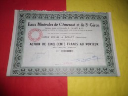 EAUX MINERALES DE CLEMENSAT ET SAINT GERON (500 Francs) ARVANT,HAUTE LOIRE - Hist. Wertpapiere - Nonvaleurs