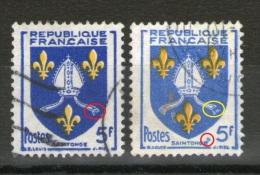 """N° 1005°_Foncé-clair_Franges Incomplètes_""""mouche"""" Sur Saintonge - Variedades: 1950-59 Usados"""