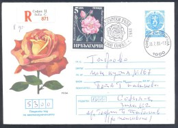 Bulgaria 1985 Postal Stationery Registered Cover: Flora Roses Rose Rosa ро́за Damascena; Li - Végétaux