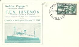 NOUVELLE-ZELANDE - Enveloppe Maritime - Paquebot TEV . HINEMOA . Voyage Lyttelton To Welligton Feb 11 4 - Nouvelle-Zélande
