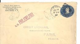 USA - S./s PHILADELPHIA Sur Entier Postal De 1907 De NY Pour PARIS - Etats-Unis