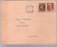 France Lettre CAD Rouen Gare 2?-11-1947 / TP Marianne Gandon 716B & Cérès 681 Pour M° Surville Pont L'Evêque - Marcophilie (Lettres)