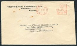 1936 GB Brentford Firestone Tyre Co Meter Mark Cover - Bureau International De L'Union Telegraphique, Berne, Switzerland - 1902-1951 (Kings)