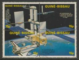 Guinea Bissau 1986 Mi 905 /8 4-Block ** Space Station, Deflectors, Shuttle, Earth – XXV Ann. 1st  American In Space - Raumfahrt