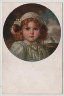 Young Little Girl Circle Border Recknagl Goldelse Leipzig Painting Primus Post Card Postkarte POSTCARD - Altri