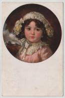 Young Little Girl Circle Border Recknagl Lili Leipzig Painting Primus Post Card Postkarte POSTCARD - Altri
