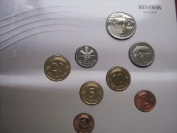 Latvia 1992 1999 1 Santims - 2 Lati Pre-Euro Set Of 8 Coins In Mint Folder - Latvia