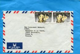 MARCOPHILIE-lettre-HONG KONG Pour Françe -cad 1985 -2 Stamps N°448 Flower -fleur -narcissus - Hong Kong (...-1997)