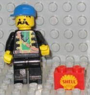 279/123  LEGO MATTONCINI BRIQUE 1x2 ROSSO ROUGE SERIGRAFATO SHELL SERIGRAPHIE ORIGINALE COSTRUZIONI - Lego System
