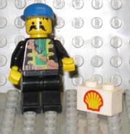 279/134  LEGO MATTONCINI BRIQUE 1x2 BIANCO BLANC SERIGRAFATO SHELL SERIGRAPHIE ORIGINALE COSTRUZIONI - Lego System
