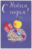 USSR, 1967. HAPPY NEW YEAR! HEDGEHOG WITH GIFTS. Artist M. Basmanova. Unused Postcard - Nieuwjaar