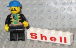 279/132  LEGO MATTONCINI BRIQUE 1x6 BIANCO BLANC SERIGRAFATO SERIGRAPHIE SHELL ORIGINALE COSTRUZIONI - Lego System
