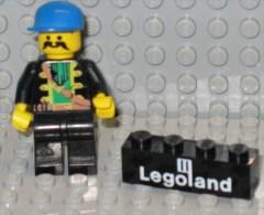 279/121   LEGO MATTONCINI BRIQUE 1 X 4 NERO NOIR SERIGRAFATO SERIGRAPHIE LEGLAND ORIGINALE COSTRUZIONI - Lego System