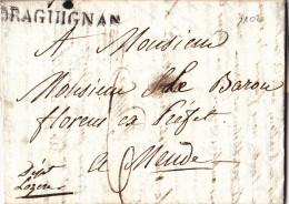 1102# LETTRE Datée De MUY Obl 78 DRAGUIGNAN 47 * 11 Mm 1826 VAR Pour BARON FLORENS PREFET DE LOZERE A MENDE - Marcophilie (Lettres)