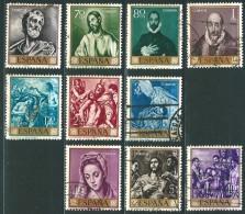 Spanien 1961: Satz Nr. 1225-1234° Gemälde (VI) El Greco; Tag Der Briefmarke - 1961-70 Gebraucht