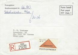 Norway 1989 Rembourse Unfranked Registered Postal Official Cover - Brieven En Documenten