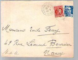 France Lettre CAD Brain Sur Vilaine 28-08-1947 / TP Marianne Gandon 719B & Cérès 676 De Mr Boulais Pour Mr Ferry Nancy - Marcophilie (Lettres)