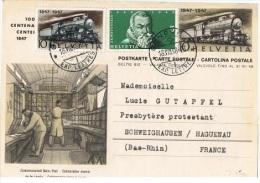 TR-L68 - SUISSE ENTIER POSTAL Centenaire Du Chemin De Fer Carte Illustrée Tri Dans Le Wagon Postal - Entiers Postaux