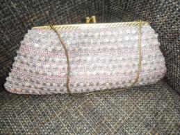 ANCIENNE PETITE BOURSE DE BAL  ARGENTEE ET ROSE - Purses & Bags