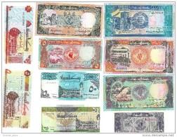 Sudan 1987-1993 UNC Banknotes Complete Set Of 10 Diff, 25p, 5, 10, 25, 50 Dinars, 5, 10, 20, 50, 100 Pounds - Soudan