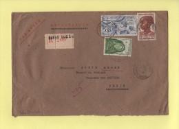 Dakar Succurrsale - 1952 - Recommande Destination¨Paris - France (former Colonies & Protectorates)