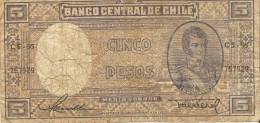 Billet - CHILI - 5 Pesos - Série C5-95 - O Higgins - Chile - Chili