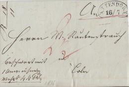 Brief Gelaufen Von Attendorn 16.7.1836 Nierenstempel Gel. Nach Köln - Deutschland