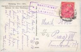 """Austria 1916 Cartolina Di Propaganda """"Prigionieri Italiani Presso Il San Michele"""" Da Lubiana Per Praga Con 10 Heller - Guerre Mondiale (Première)"""