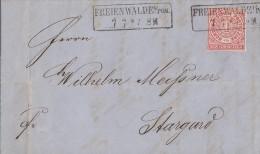NDP Brief EF Minr.16 R2 Freienwalde I./Pom. 7.7. Gel. Nach Stargard - Norddeutscher Postbezirk