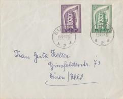 Belgien Brief Mif Minr.1043, 1044 Eupen 15.9.56 FDC Gel. Nach Deutschland - Belgien