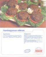 HAMBURGUESAS RELLENAS - RECETAS ADLER CIRCA 1970 ARGENTINA - CARTE PUBLICITAIRE RARE - Recepten (kook)
