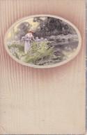 AK Frau Beim Blumenpflücken Am See - Reliefkarte - Holzstruktur - 1909 (20372) - Ansichtskarten