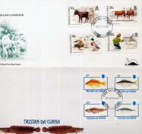 Tristan Da Cunha 1992 1994 2 Enveloppes Premir Jour Poissons  âne Canard Agneau Vache - Tristan Da Cunha