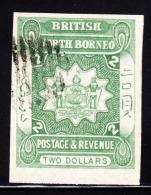 British North Borneo 1888 Issue (redrawn) $2 Mperf Single Used. Scott 47. - North Borneo (...-1963)