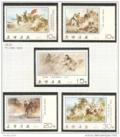 Paintings NK-P North Korea 1975 Complete Set MNH - Army Horse Militants - Korea, North