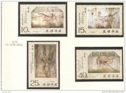 Paintings NK-P North Korea 1975 Complete Set MNH - MURAL Frescoes - Korea, North