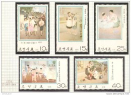 Paintings NK-P North Korea 1976 Complete Set MNH Women Childrens Nurses - Korea, North