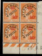 P0031 - Préoblitéré 75 - 80c Sur 1F Type Paix - Coin Daté 25/8/37 **