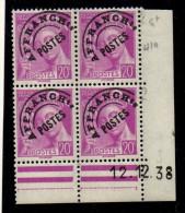 P0033    Préoblitéré 79 - 20c Mercure - Coin Daté 12/12/38 **